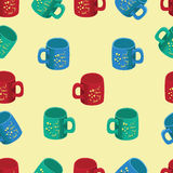 Colored cups on the inscription I love dad. vector illustration