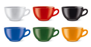 Colored cups set Stock Photos