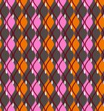 Colored curves, abstract, decorative background, seamless, vector. Vertical pink and orange diamonds with rounded corners on a gray field. Geometric background Royalty Free Stock Photos