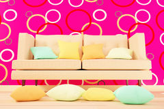 Colored cushions in the living room interior. 3d illustration Royalty Free Stock Image