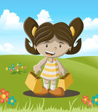 Colored  of a cute little girl with paper bags Royalty Free Stock Images