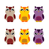Colored cute owls set of flat icon Royalty Free Stock Photos