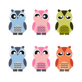 Colored cute owls set of flat icon Stock Photography