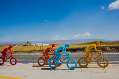 Colored cyclist sculptures. Cyclist sculptures besides Qinghai lake, Qinghai province, China royalty free stock images