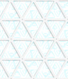 Colored 3D blue rounded triangles with grid. Seamless geometric background. Modern 3D texture. Pattern with realistic shadow and cut out of paper effect Stock Image