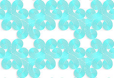Colored 3D blue striped swirls. Seamless geometric background. Modern 3D texture. Pattern with realistic shadow and cut out of paper effect Royalty Free Stock Images