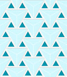 Colored 3D blue striped triangles with grid. Seamless geometric background. Modern 3D texture. Pattern with realistic shadow and cut out of paper effect Royalty Free Stock Images