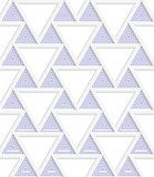 Colored 3D blue triangles with grid. Seamless geometric background. Modern 3D texture. Pattern with realistic shadow and cut out of paper effect Stock Photo