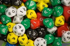 Colored d10 dice stock photography