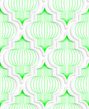Colored 3D green vertical Chinese lanterns. Seamless geometric background. Modern 3D texture. Pattern with realistic shadow and cut out of paper effect Stock Photos