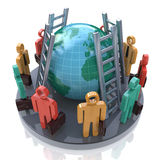 Colored 3d people around the planet earth and stairs Royalty Free Stock Images