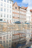 Colored Danish Homes with reflection Royalty Free Stock Photography