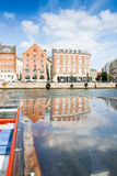 Colored Danish Homes with reflection Stock Photography