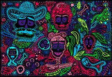 Colored Day of The Dead Sugar Skull with ornament stock illustration