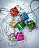 Colored and decorated shining gift boxes Stock Image