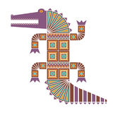 Colored decorative image of a crocodile. Colored insulated decorative image of a crocodile with geometric patterns of triangles and squares Royalty Free Stock Image