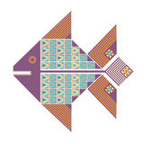 Colored decorative image of a fish. Isolated colorful graphic decorative image of a fish with geometric patterns of triangles and squares Royalty Free Stock Image