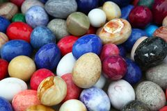 Colored decorative onyx eggs Royalty Free Stock Photography