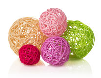 Colored Decorative Wicker Balls, Isolated On White Stock Image