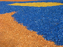Colored decorative woodchips. Colored woodchips for decoration flowerbeds Royalty Free Stock Image