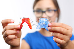Colored dental braces . Royalty Free Stock Image