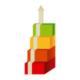 Colored diagram cubes with arrow up. Illustration Stock Photos