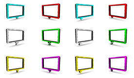 Colored dialog bubbles. Set of 12 colored rectangle dialog bubbles design with shadow Royalty Free Stock Photos