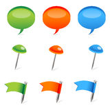 Colored dialogue bubble and flags Stock Images