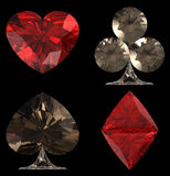 Colored Diamond shaped Card Suits Royalty Free Stock Photography