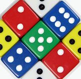 Colored Dice. Macro background Royalty Free Stock Photos