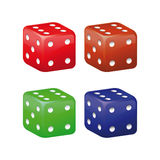 Colored dice on a white background. Stock Photos