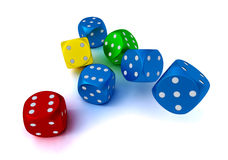 Colored dices Stock Images