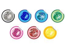 Colored disco ball stickers collection Royalty Free Stock Photos