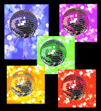 Colored disco balls in defocused lights Stock Photography