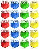 Colored discount labels Royalty Free Stock Photography