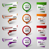 Colored discount sale design pointers template Royalty Free Stock Photography