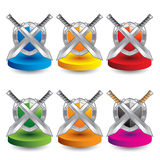 Colored discs crossed swords and shield Stock Photo