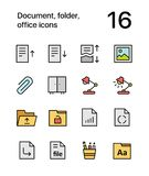 Colored Document, folder, office icons for web and mobile design pack 2. Colorful flat vector outline icons Stock Photography
