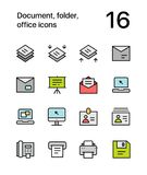 Colored Document, folder, office icons for web and mobile design pack 4 Royalty Free Stock Image