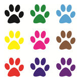 Colored dog footprints Royalty Free Stock Images