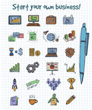 Colored Doodle Business Start Elements Concept. With equipment financial marketing and management icons on note paper vector illustration Stock Photography