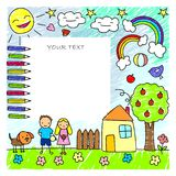 Colored Doodle Children Drawings Template stock illustration