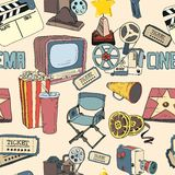 Colored doodle cinema seamless wallpaper Stock Images