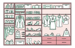 Colored Doodle Female Wardrobe Concept Stock Photography