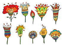 Colored doodle flowers. Royalty Free Stock Photography