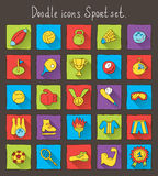 Colored doodle icons with shadow. Sport set Royalty Free Stock Photo