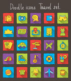 Colored doodle icons with shadow. Travel set Royalty Free Stock Photo