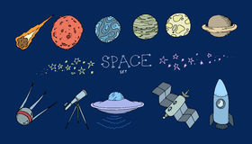Colored doodle space set Royalty Free Stock Photos