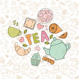 Colored doodle sweets and tea items. Gentle colored doodle sweets and tea items in the confectionery pattern Stock Photo