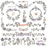 Colored Doodles borders,frames,wreath,Floral decor set Royalty Free Stock Photos